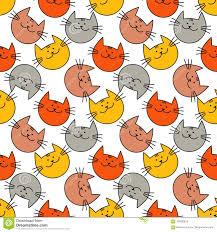 Naadloos Patroon Met Hipster Leuke Katten Grappige Mooie Katten