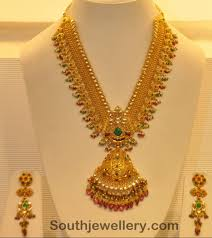 gold necklace with beads and kundans jewellery designs