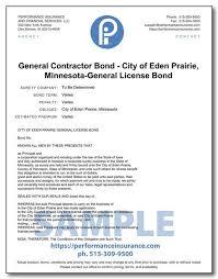 ¿tuviste una mala experiencia con eden insurance? General Contractor Bond City Of Eden Prairie Minnesota General License Bond