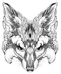 Mandala Fox Mask Coloring Page