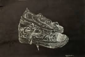 pointillism black and white. title of art piece: 2 shoes in white pointillism black and
