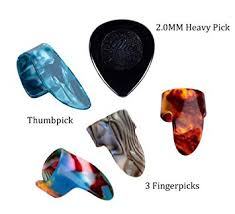 2mm Thickness <b>Guitar Picks Celluloid Thumb Finger</b> Guitar Plectrum ...