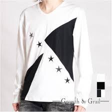 狙うはイケメンコーデ Tシャツ デザイン 黒 長袖カットソー 星柄 白
