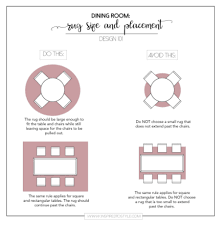 this rule applies for round square and rectangular rugs under a dining table