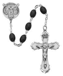 pewter 8mm black wood rosary beads