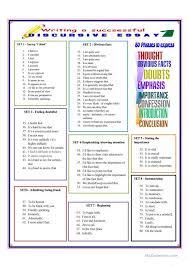 writing a successful discursive essay worksheet esl  writing a successful discursive essay 1