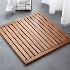 lateral teak natural bath mat