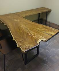 live edge slab l shaped desks made from your choice of wood