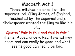 macbeth act three witches element of the supernatural king  1 macbeth