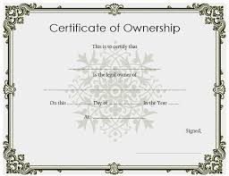 Certificate Of Ownership Template 7 Best 10 Templates