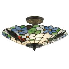 lifetime dale tiffany ceiling lights 3 light antique brass semi flush mount with