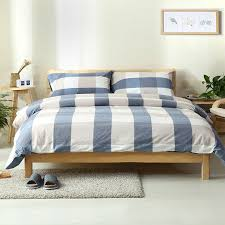 4pcs 100 washed cotton vintage style 4 colors plaid duvet cover bedding sets queen size with solid blue ed sheet in bedding sets from home garden on
