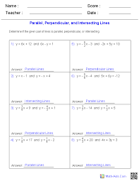 given a pair of lines determine if the lines are parallel perpendicular or intersecting worksheets
