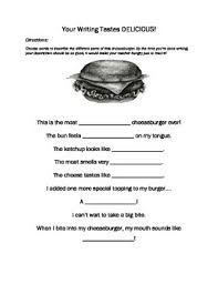 descriptive writing senses food homework worksheet tpt descriptive writing 5 senses food homework worksheet