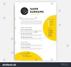 Yellow Cv Resume Template Curriculum Vitae Stock Photo Photo