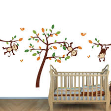 on jungle wall art for baby room with orange jungle wall decals for nursery monkeys stickers for baby room