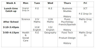 year 11 revision booster session timetable lakers school week a revision timetable