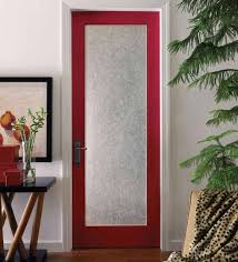 interior door with frosted glass panel and red door frame