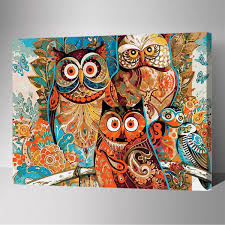 owl birds abstract multi colored paint by number