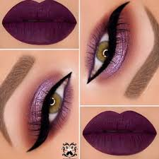 apply pretty light shimmery purple eye shadow to your eyelid with matte purple on the crease and lower half of the top lid