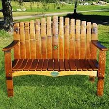 rustic garden furniture. Image Is Loading WINE-BARREL-Stave-Large-Garden-Bench-Home-Decor- Rustic Garden Furniture