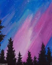 4x5 aurora northern lights evergreen silhouettes original painting starry skies impressionist you can find
