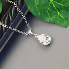 clear crystal necklace clear swarovski crystal pendant necklace bridesmaid necklace crystal teardrop necklace bridesmaid jewelry