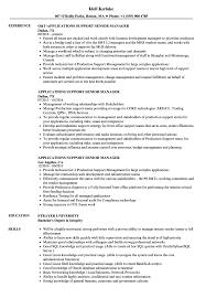 Applications Support Senior Manager Resume Samples Velvet Jobs