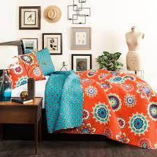 lush decor 3 piece adrianne quilt set full queen tangerine