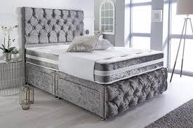 crystal crushed velvet divan bed set