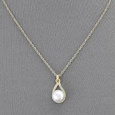 gold simple chain pearl small clear