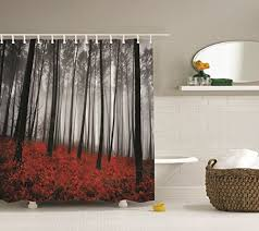 black and gray shower curtain. amazon.com: fabric shower curtain farmhouse country home woodland decor by ambesonne, mystic forest trees and leaves red grass modern art flower rainy foggy black gray