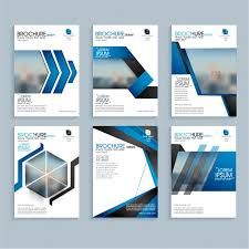 Business Leaflets With Geometric Blue Shapes Vector Premium Download