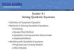 chapter 4 quadratic functions and various nar topics section 4 1 2 section 4 1 solving quadratic equations