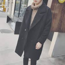 2018 autumn winter woolen coat male korean style loose mid length trench coat men youth