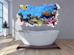 sea aquarium under water brick crumbled wall 3d wall art sticker decal transfer