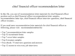 Chief Financial Officer Resumes Chief Financial Officer Recommendation Letter