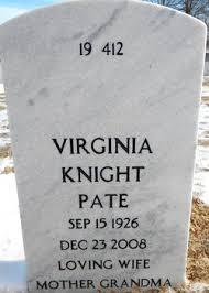 "Ruby Virginia ""Gina"" Knight Pate (1926-2008) - Find A Grave Memorial"
