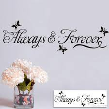 Wall Decor Sticker Always Forever Lettering Wall Decals Art Home Decor Black