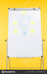 Light Bulb Drawn White Flipchart Sticky Notes Stock Photo