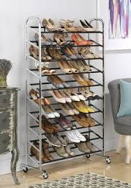 Home Basics 10 Tier Coated Non Woven Shoe Rack 100 Pair Shoe Rack Tower in Chrome Wheels Included Decor 84