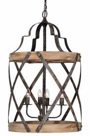 farmhouse chandelier woven metal and wood 4 bulb pendant light fixture