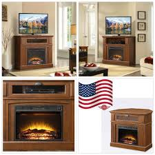 details about electric fireplace stand 45 inch living room 1500 w heater brown