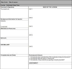 unit planner template for teachers art lesson plan templates