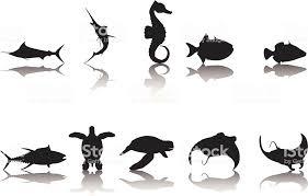 魚シルエットコレクション イトマキエイのベクターアート素材や画像を
