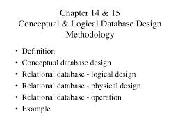 Logical Design Definition Ppt Chapter 14 15 Conceptual Logical Database Design