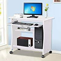 Computer desk small Laptop Popamazing Wood Small Computer Desk Trolley Cart Pc Laptop Workstation With Sliding Keyboard Tray And Storage Amazon Uk Amazoncouk Small Computer Workstations Desks Workstations