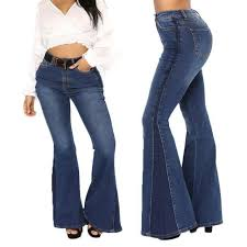 Dkny Pull On Ponte Pants Size Chart Us Womens Flared Bell Bottom Denim Pants High Waist Slim Bootcut Jeans Trousers