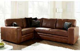 brown l shaped leather sofa furniture with black cushions placed in the white living room interior design