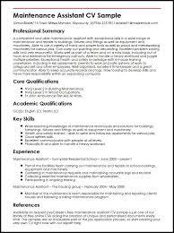 Resume For Maintenance Mesmerizing Maintenance Assistant CV Sample MyperfectCV